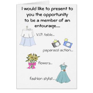bridesmaid/ entourage card