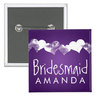 Bridesmaid Favor Grunge Hearts Purple 2 Inch Square Button