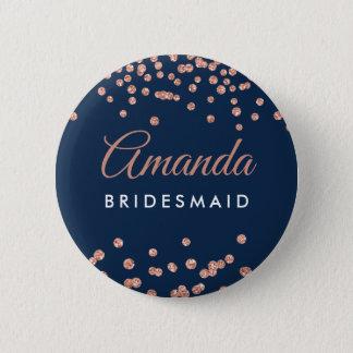 Bridesmaid Favor Rose Gold Glitter Confetti Navy 2 Inch Round Button