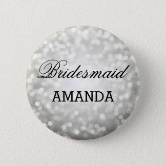Bridesmaid Favor Silver Glitter Lights 2 Inch Round Button