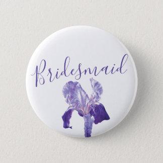 Bridesmaid flag iris purple wedding pin / button