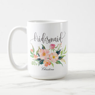 Bridesmaid Floral Personalized Wedding -5 Coffee Mug