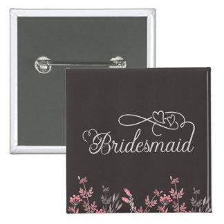 """Bridesmaid"" ""Floral Wedding"" 2 Inch Square Button"