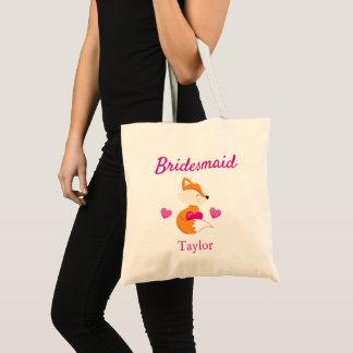 Bridesmaid Fox and Hearts Tote Bag