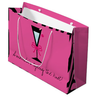 Bridesmaid gift personalized pink and black Zebra Large Gift Bag