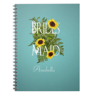 Bridesmaid Gift Sunflowers Green Foliage Teal Blue Note Books