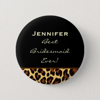 Bridesmaid Gold Leopard Custom Name 2 Inch Round Button