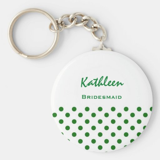 Bridesmaid Green and White Polka Dots V10 Keychains