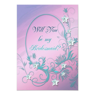 "Bridesmaid inviation with star diamonds 5"" x 7"" invitation card"