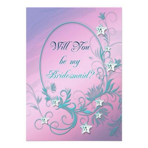 Bridesmaid inviation with star diamonds invitation
