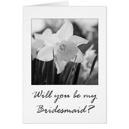 bridesmaid invitation daffodil black & white