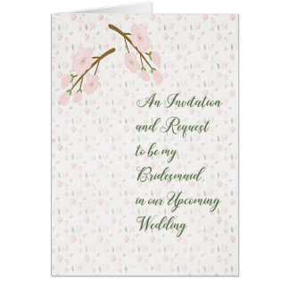 Bridesmaid Invitation Request Card Pink Flowers