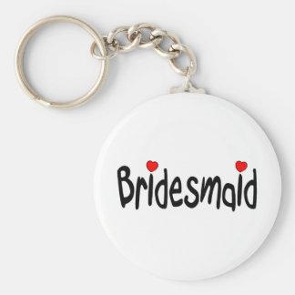Bridesmaid Basic Round Button Keychain