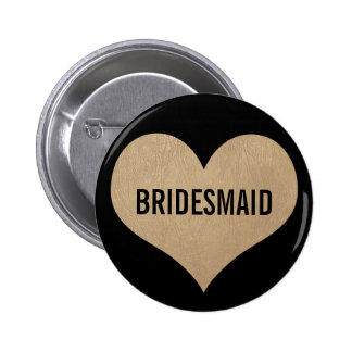 Bridesmaid Leather Texture Gold Heart 2 Inch Round Button