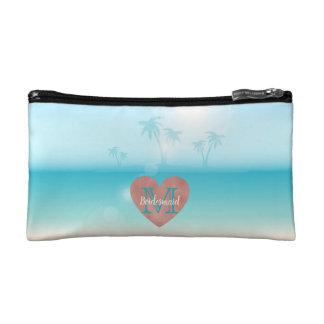 Bridesmaid Monogram Heart Beach Wedding Makeup Bag