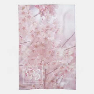Bridesmaid Monogram Pale Pink Cherry Blossoms Kitchen Towel