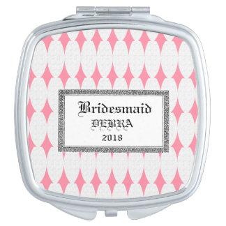 Bridesmaid-Monogram-Template-Silver-Pink-Compact's Vanity Mirror