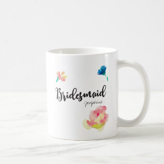 Bridesmaid, Name, flowers Coffee Mug