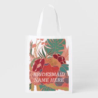 Bridesmaid Personalized Floral Reusable Bag