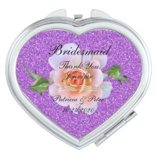 Bridesmaid Personalized Glitter Mirrors For Makeup