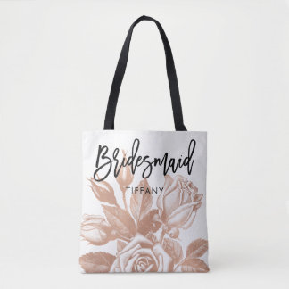 Bridesmaid | Personalized Modern Vintage Tea Rose Tote Bag