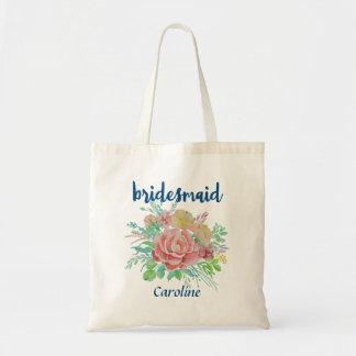 Bridesmaid Personalized Vintage Floral Watercolor Tote Bag