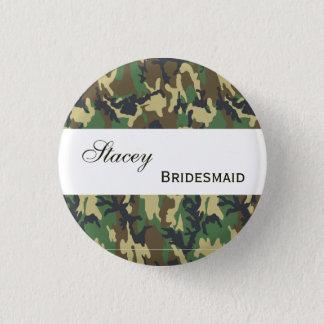 BRIDESMAID Pin Button Green Camo V207D