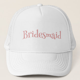 Bridesmaid Pink and White Trucker Hat