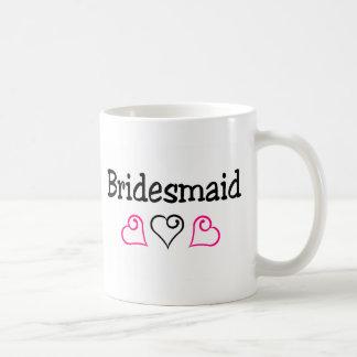 Bridesmaid Pink Black Hearts Coffee Mug