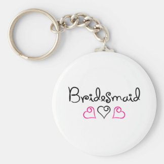 Bridesmaid Pink Black Hearts Keychain
