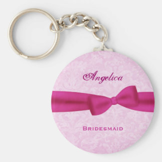Bridesmaid Pink Bow Pink Damask E016 Basic Round Button Keychain