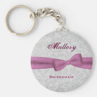 Bridesmaid Pink Bow Silver Damask E004 Keychain