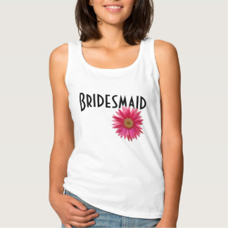 Bridesmaid Pink Gerbera Daisy Wedding Tank Top