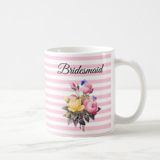 Bridesmaid Pink Rose Bouquet Personalized  Mug