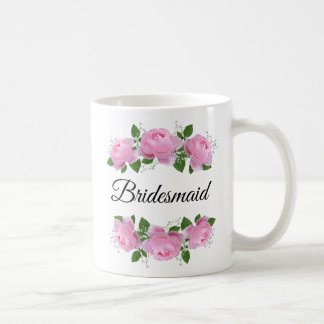 Bridesmaid Pink Roses Personalized Coffee Mug