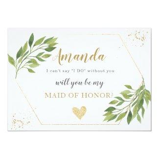 Bridesmaid proposal card greenery and gold