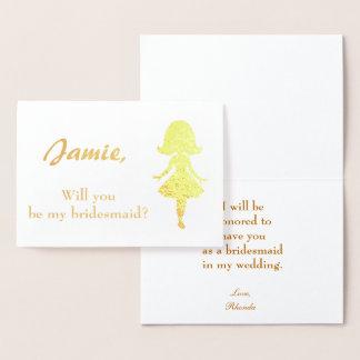 Bridesmaid Proposal Woman silhouette Foil Card