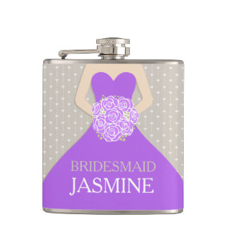 Bridesmaid purple dress named hip flask