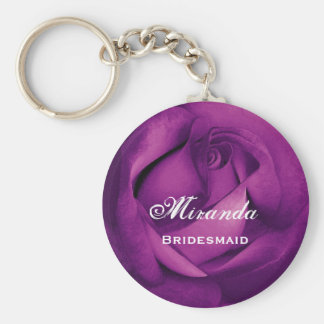 Bridesmaid Purple Rose  E060 Basic Round Button Keychain