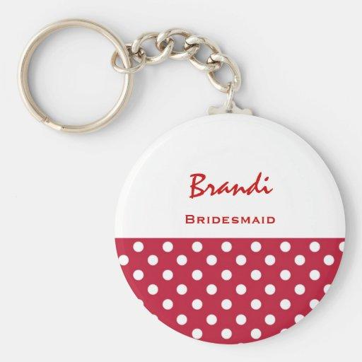 Bridesmaid Red and White Polka Dots V7 Key Chain