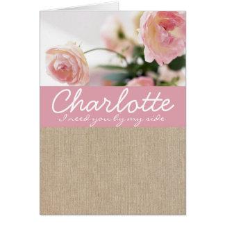 Bridesmaid Request Card Pink Peony Burlap