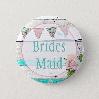 Bridesmaid Shabby Vintage Rustic Wedding Party Pin