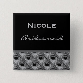 Bridesmaid Silver and Black Peacock Wedding 2 Inch Square Button