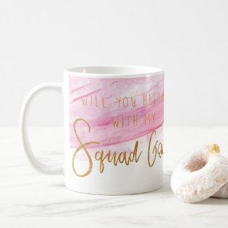 BRIDESMAID SQUAD GOALS - SOFT PINK WATERCOLOR COFFEE MUG