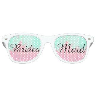 Bridesmaid Summer Pink Teal Watercolor Wedding Sunglasses