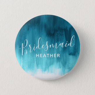 Bridesmaid teal aqua abstract art wedding pin