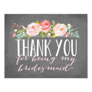 "Bridesmaid Thank You   Bridesmaid 4.25"" X 5.5"" Invitation Card"