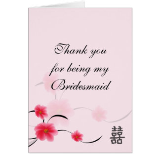 Bridesmaid Thank You Card Pink Blossom Double Ha