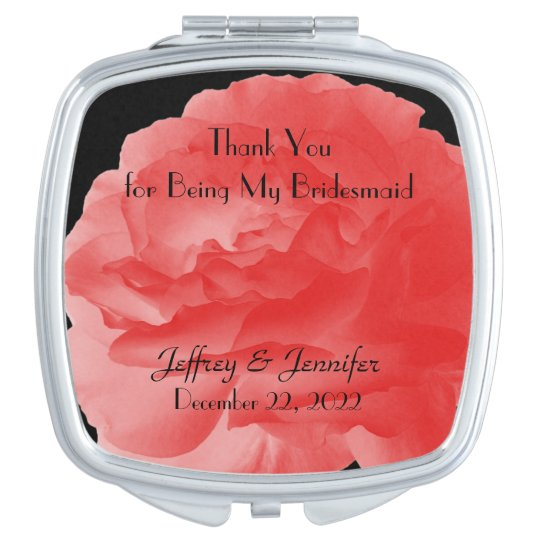 Bridesmaid Thank You Custom Compact Mirror Coral