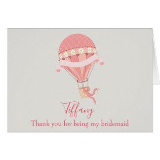 Bridesmaid Thank You Pink Hot Air Balloon Card